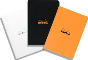 A5 Medium Size Side-Stapled Pads - Available in orange, black or Rhodia Ice